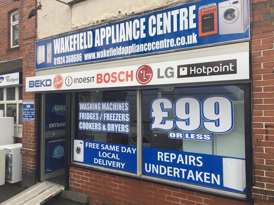 Wakefield Used Reconditioned ExDisplay Graded Install Free Delivery Appliance Centre Wakefield, Leeds, Batley, Dewsbury, Castleford, Pontefract, Harrogate, York, Wetherby, Skipton, Pudsey, Knottingley, Goole, Selby, Featherstone, Rotherham, Doncaster, Keighley, Huddersfield, Halifax, Bradford, Selby. Sheffield, North South West East Yorkshire